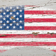 Royalty-Free Stock Photo: Flag of USA on grunge wooden texture painted with chalk