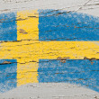 Stock Photo: Flag of Sweden on grunge wooden texture painted with chalk