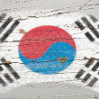 Royalty-Free Stock Photo: Flag of South Korea on grunge wooden texture painted with chalk