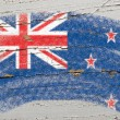 Royalty-Free Stock Photo: Flag of New Zealand on grunge wooden texture painted with chalk