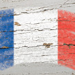 Flag of France on grunge wooden texture painted with chalk — 图库照片