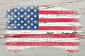Flag of USA on grunge wooden texture painted with chalk — ストック写真