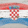 Flag of Croatia on grunge wooden texture painted with chalk — Zdjęcie stockowe