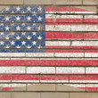 Flag of USA on grunge brick wall painted with chalk — Stock Photo