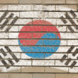 Flag of South Korea on grunge brick wall painted with chalk — Foto Stock