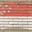 Flag of Singapore on grunge brick wall painted with chalk — Stok fotoğraf
