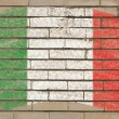 Flag of Italy on grunge brick wall painted with chalk — Stock Photo