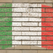 Flag of Italy on grunge brick wall painted with chalk — Stock fotografie