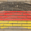 Flag of Germany on grunge brick wall painted with chalk — Stok fotoğraf