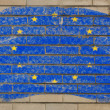Flag of EU on grunge brick wall painted with chalk — Stok fotoğraf