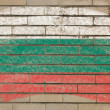 Flag of Bulgaria on grunge brick wall painted with chalk — Foto de Stock