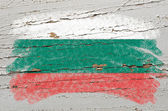 Flag of Bulgaria on grunge wooden texture painted with chalk — Stock Photo