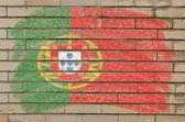 Pavillon du portugal sur mur de briques de grunge peint à la craie — Photo