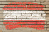 Flag of Austria on grunge brick wall painted with chalk — Foto Stock