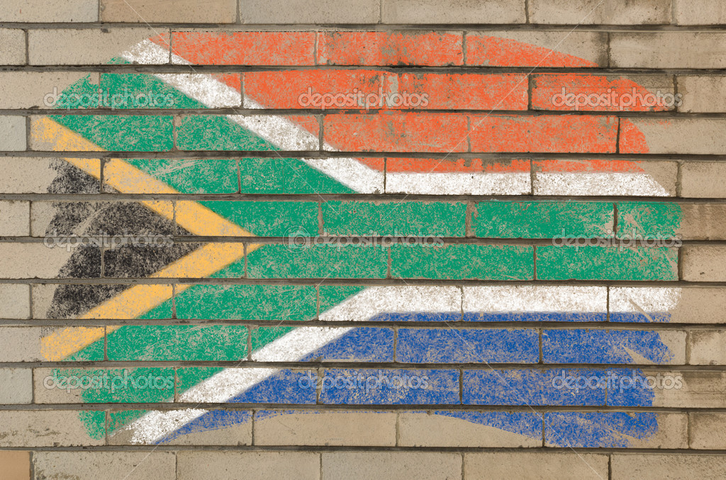 Chalky  south african republic flag painted with color chalk on grunge old brick wall — Stock Photo #6850496