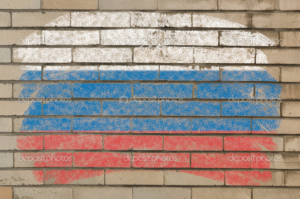 Chalky russian flag painted with color chalk on grunge old brick wall — Stock Photo #6850580