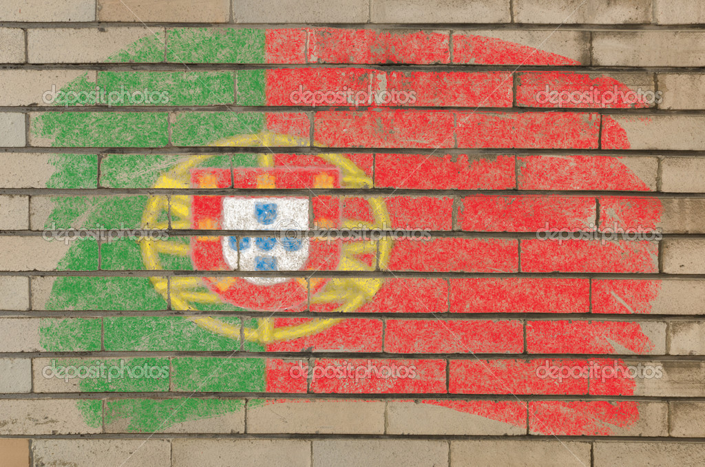 Chalky portugese flag painted with color chalk on grunge old brick wall  Foto Stock #6850617