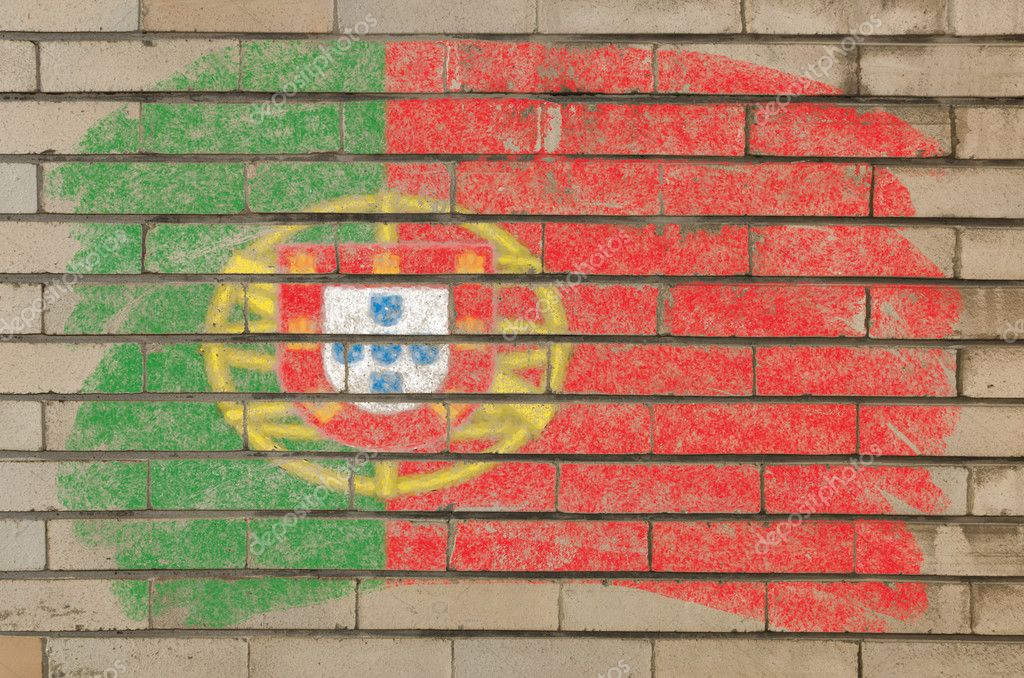 Chalky portugese flag painted with color chalk on grunge old brick wall — Lizenzfreies Foto #6850617