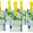 Money laundry, euro banknotes on clothespin — Stock Photo