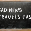 """Bad news travels fast"" written on a blackboard — Zdjęcie stockowe"