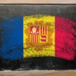 Flag of Andora on blackboard painted with chalk - Foto Stock