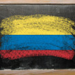 Flag of Columbia on blackboard painted with chalk — Foto Stock