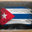 Flag of Cuba on blackboard painted with chalk - Stok fotoğraf