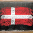Flag of Denmark on blackboard painted with chalk - Foto de Stock