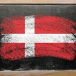 Flag of Denmark on blackboard painted with chalk - Stok fotoğraf