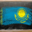 Flag of khazakstan on blackboard painted with chalk — Stock Photo