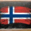 Flag of norway on blackboard painted with chalk — Stock Photo
