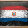 Stock Photo: Flag of paraguay on blackboard painted with chalk