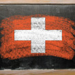 Flag of schwitzerland on blackboard painted with chalk - Stok fotoğraf
