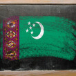 Flag of turkmenistan on blackboard painted with chalk — Stock Photo