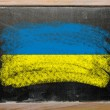 Flag of ukraine on blackboard painted with chalk — Stok fotoğraf