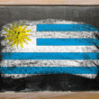 Flag of uruguay on blackboard painted with chalk - Stok fotoğraf
