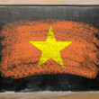 Flag of vietnam on blackboard painted with chalk - Stok fotoğraf