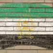 Flag of  afghanistan on grunge brick wall painted with chalk - Stok fotoğraf