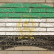 Flag of afghanistan on grunge brick wall painted with chalk — Stock fotografie
