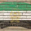 Flagge Afghanistans auf Grunge-Ziegelwand mit Kreide gemalt — Stockfoto