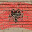 Flag of albania on grunge brick wall painted with chalk - Stock Photo
