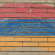 Flag of armenia on grunge brick wall painted with chalk — Foto de Stock