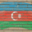 Flag of azerbaijan on grunge brick wall painted with chalk — ストック写真