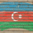 Flag of azerbaijan on grunge brick wall painted with chalk - Stok fotoğraf