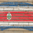 Flag of costarica on grunge brick wall painted with chalk — Stockfoto