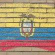 Flag of ecuador on grunge brick wall painted with chalk — ストック写真
