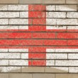 Flag of england on grunge brick wall painted with chalk — Stockfoto
