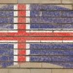 Bandera de Islandia en grunge muro pintado con tiza — Foto de Stock