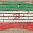Flag of iran on grunge brick wall painted with chalk — Stock Photo