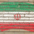 Flag of iran on grunge brick wall painted with chalk — Stock fotografie